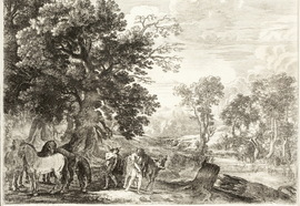Herman_van_swanevelt._landscape_with_horse._printed_xviii_century._etching.__19%d1%8524_3_cm.